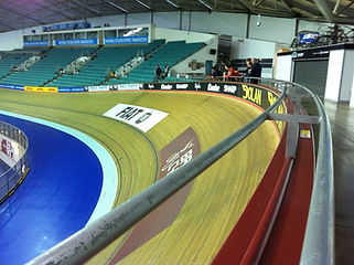 The banked track at Manchester Velodrome