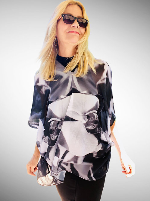 BLACK AND WHITE ORCHID PONCHO