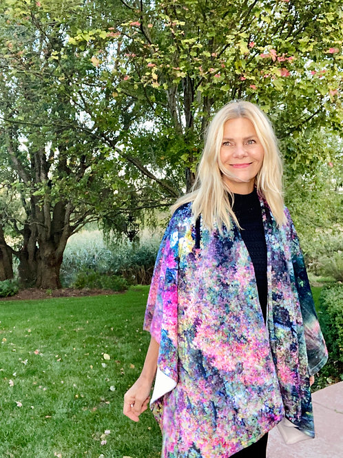 Shelly Lawler models her Wrap Collection in her garden