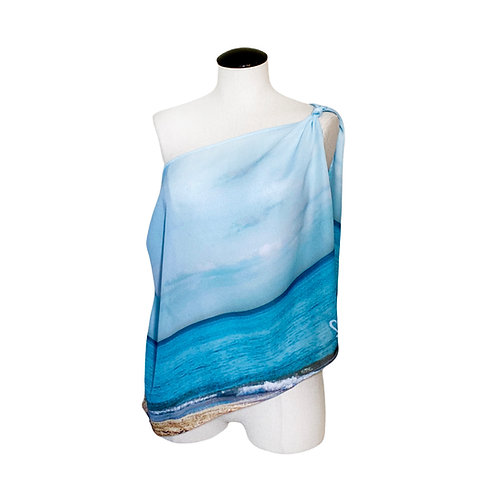 BLUE SAND AND SKY SCARF SHELLY LAWLER COLLECTION