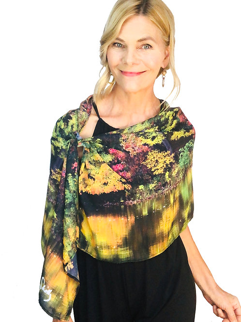 Fall Color Scarf Shelly Lawler Scarf Collection Green Black and Gold