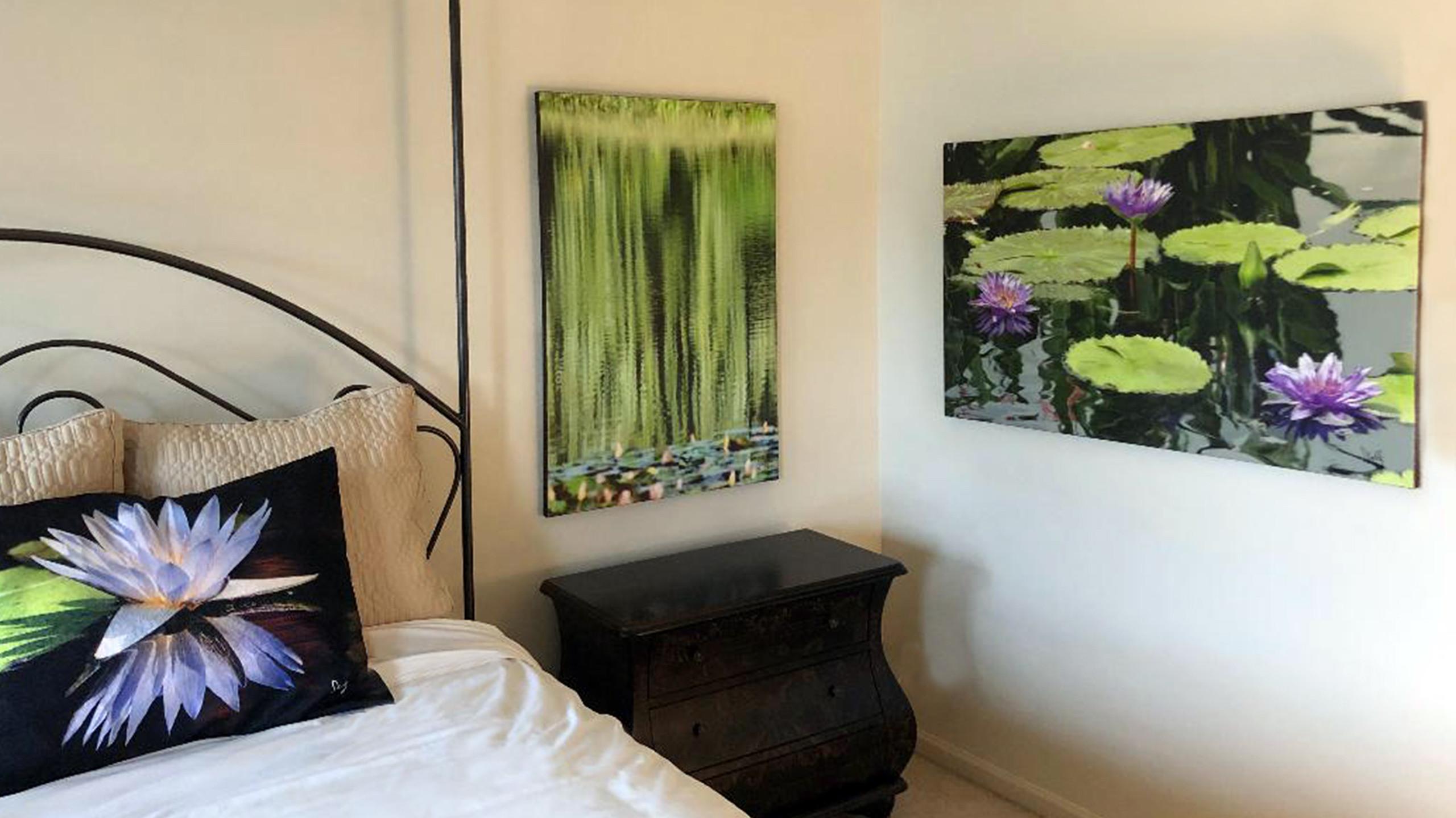 """Waterfall"" 28 x 40 on canvas. ""Lilies"" 28 x 46 on canvas. ""Lotus Flower"" standard shams."