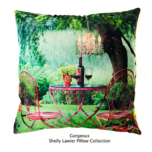 Wine and Roses in the Garden Pillow with Chandelier