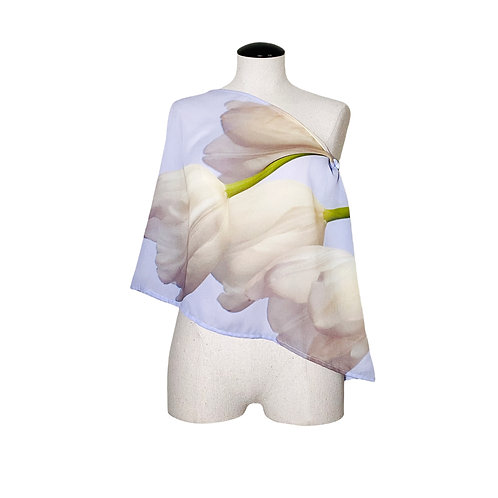 White Tulips Scarf by designer Shelly Lawler