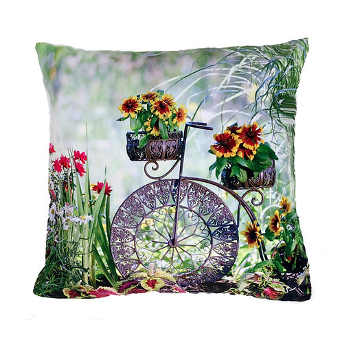 Garden Bike Sunflower Pillow by Shelly Lawler