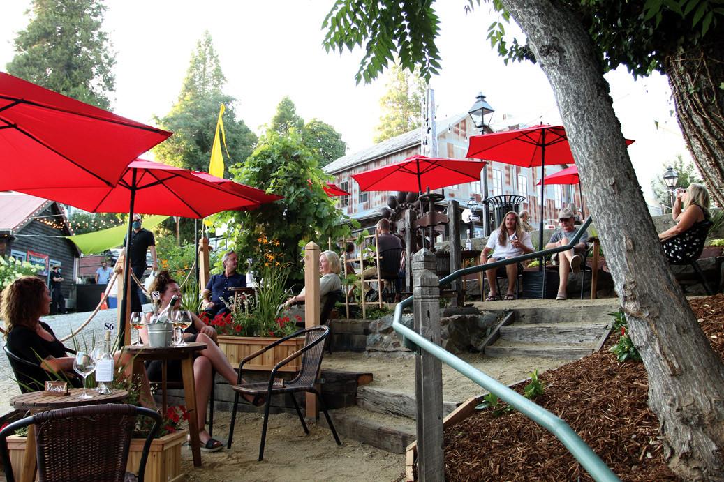 outdoor seating wine garden wine tasting
