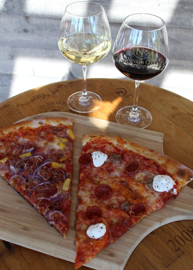 Wine and pizza pairing Nevada City Pizza Joint