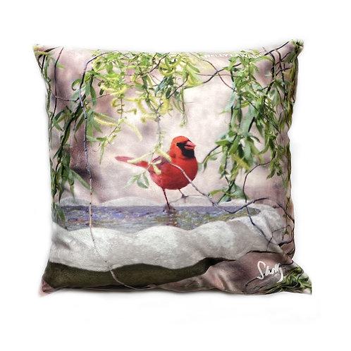 Red Cardinal Original Art Pillow Shelly Lawler Collection