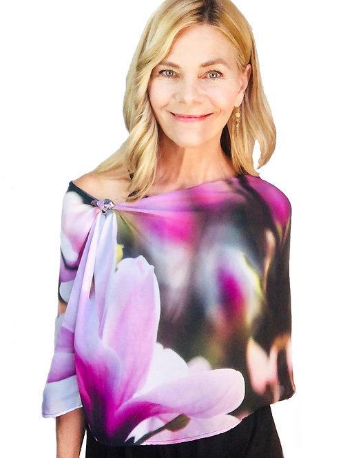 Pink Magnolia Scarf modeled by designer Shelly Lawler