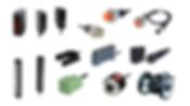 Encoders rotativos, sensores de area, sensores de fibra optica, sensores de presion, sensores de proximidad, sensores de puerta, sensores fotoelectricos, sensores de etiquetas
