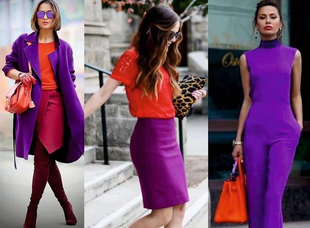 El color del año ultraviolet combinado en su gama con colores fuertes como el rojo