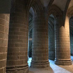 Inside the abbey at Mont Saint-Michel