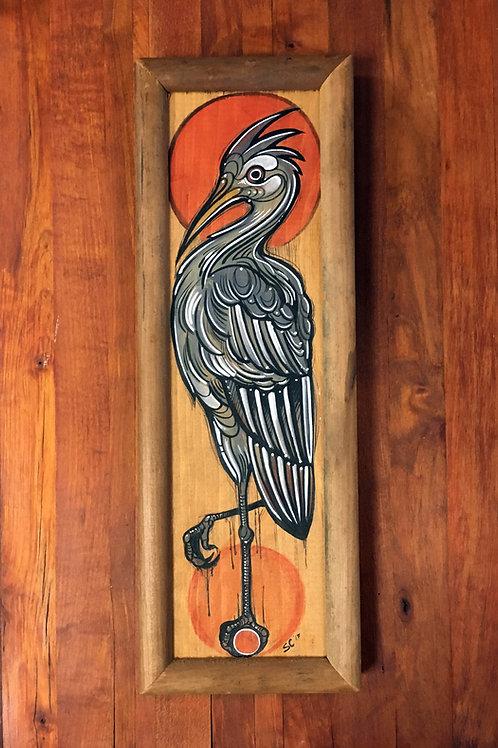 Heron wood panel painting