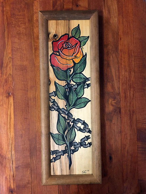 Rose and Chains on wood panel