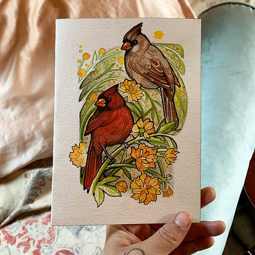 Cardinals Art Print/Greeting Card