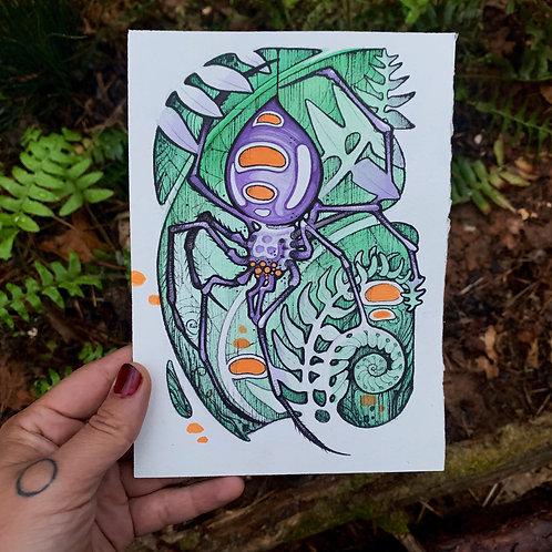 Purple Spider Art Print/Greeting card