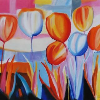 Lucia Viani  Tulipas 66x48 giz pastel so