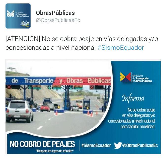 Panamericana habilitada a Tulcán y Quito. Suspendido cobro de peajes