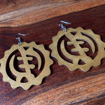Carbon Gold Gye Nyame Earrings