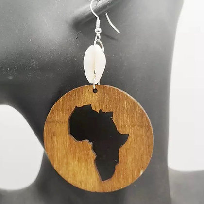 Wooden Cowrie Shell Africa Earrings