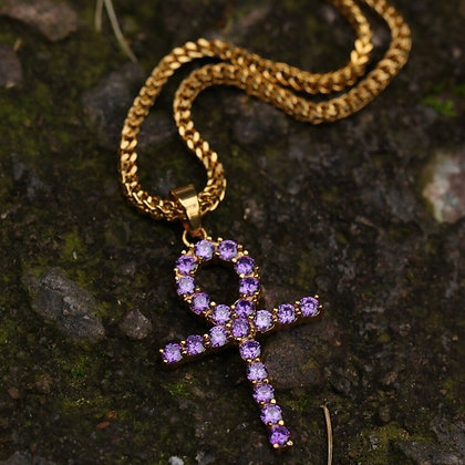 Purp Ice Ankh Necklace