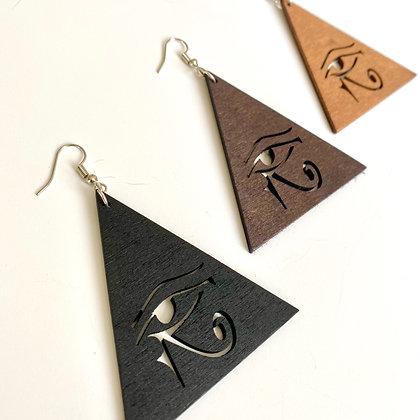 Wood Eye of Heru Pyramid Earrings