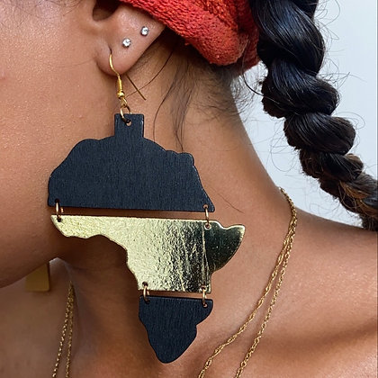 Wooden Slatted Africa Earrings