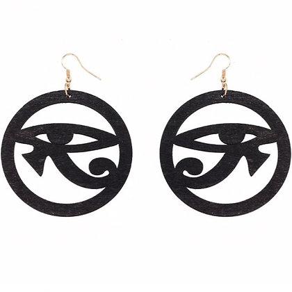 Wooden Eye of Heru Earrings