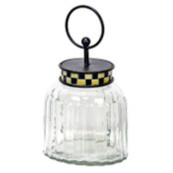 Checked Oval Glass Jar
