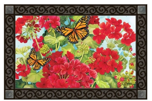 Red Geraniums Decorative Doormat