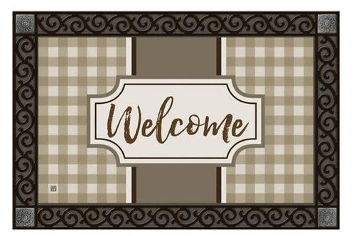 Tan Check Welcome Decorative Doormat