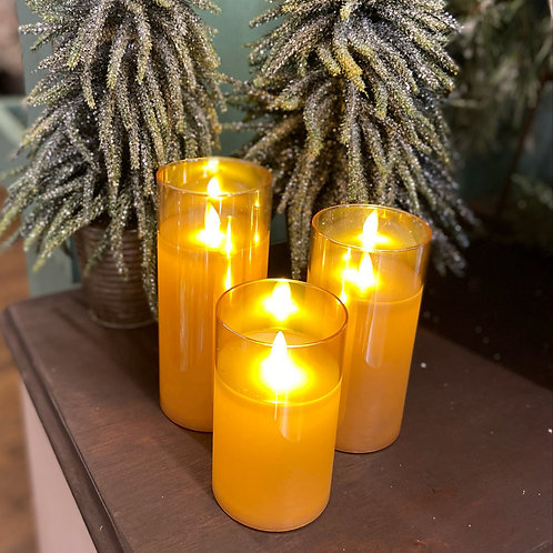 Moving Flame Glass Pillar Candles- Set of 3 with Remote