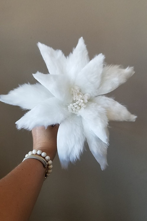 White Fluffy Poinsetta Stem