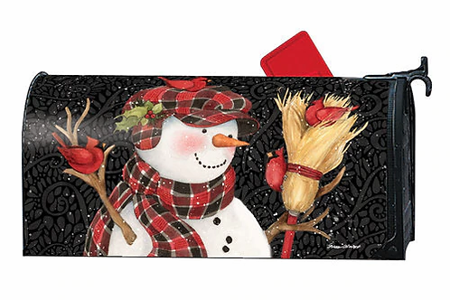 Snowman with Broom Mailbox Cover