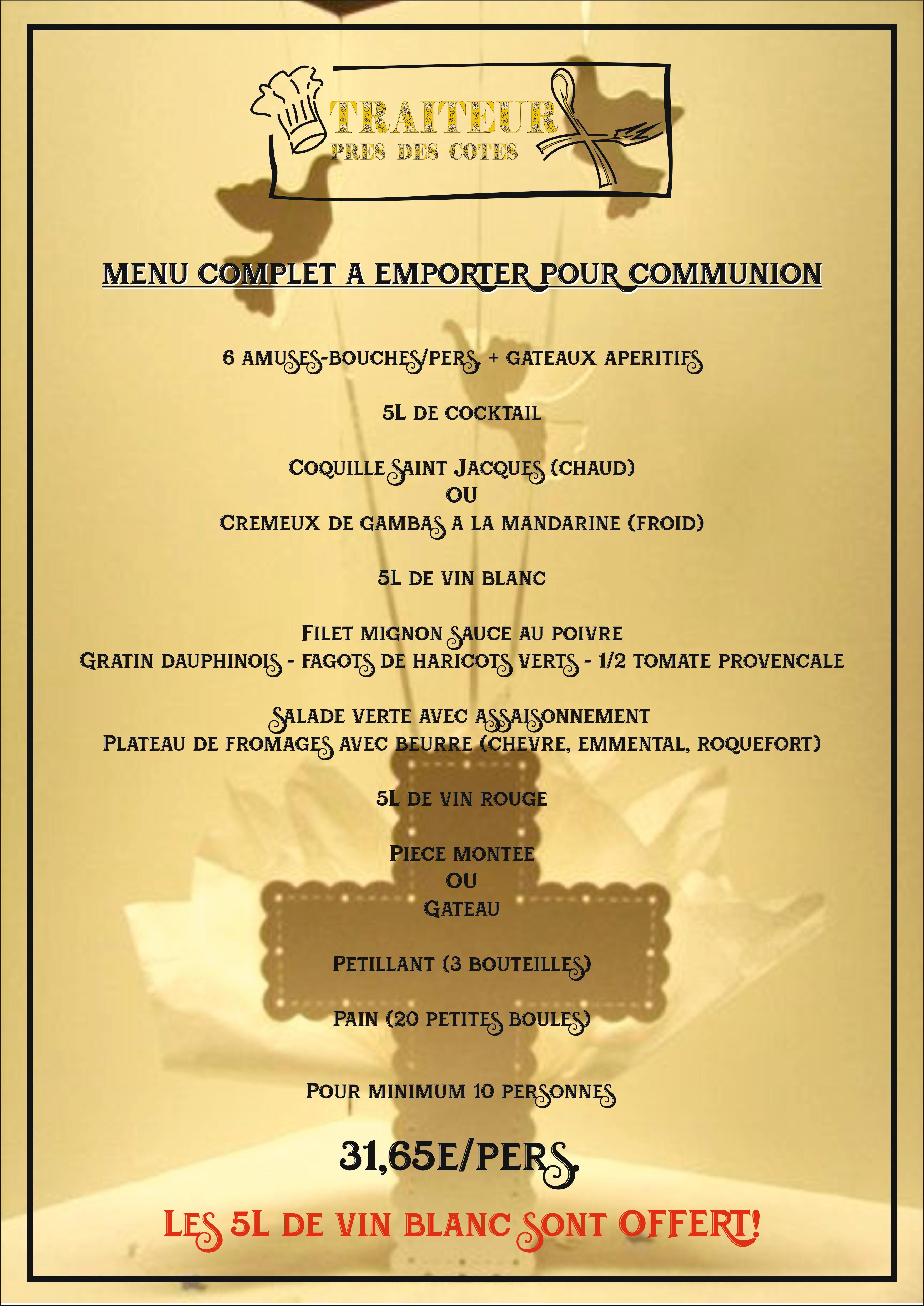 Menu communion Traiteur Boucherie