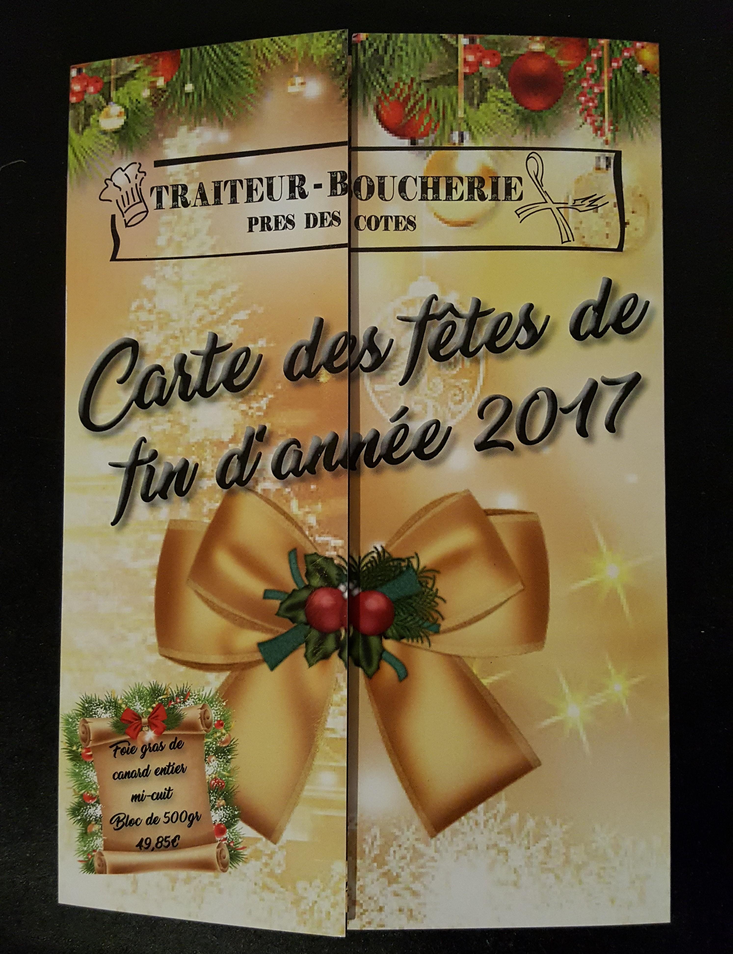 Carte des fêtes Traiteur Près des cô