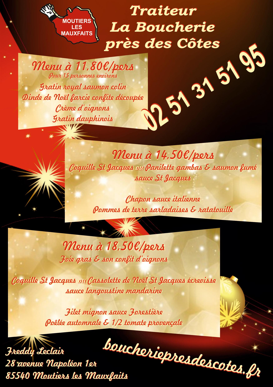 Flyer menus Noël