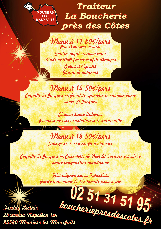 Flyer menus Noël 2