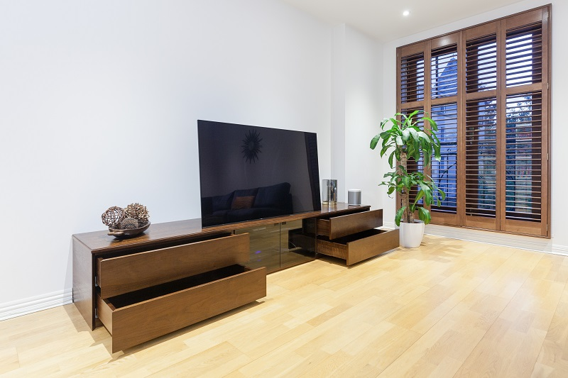 Walnut veneered TV stand