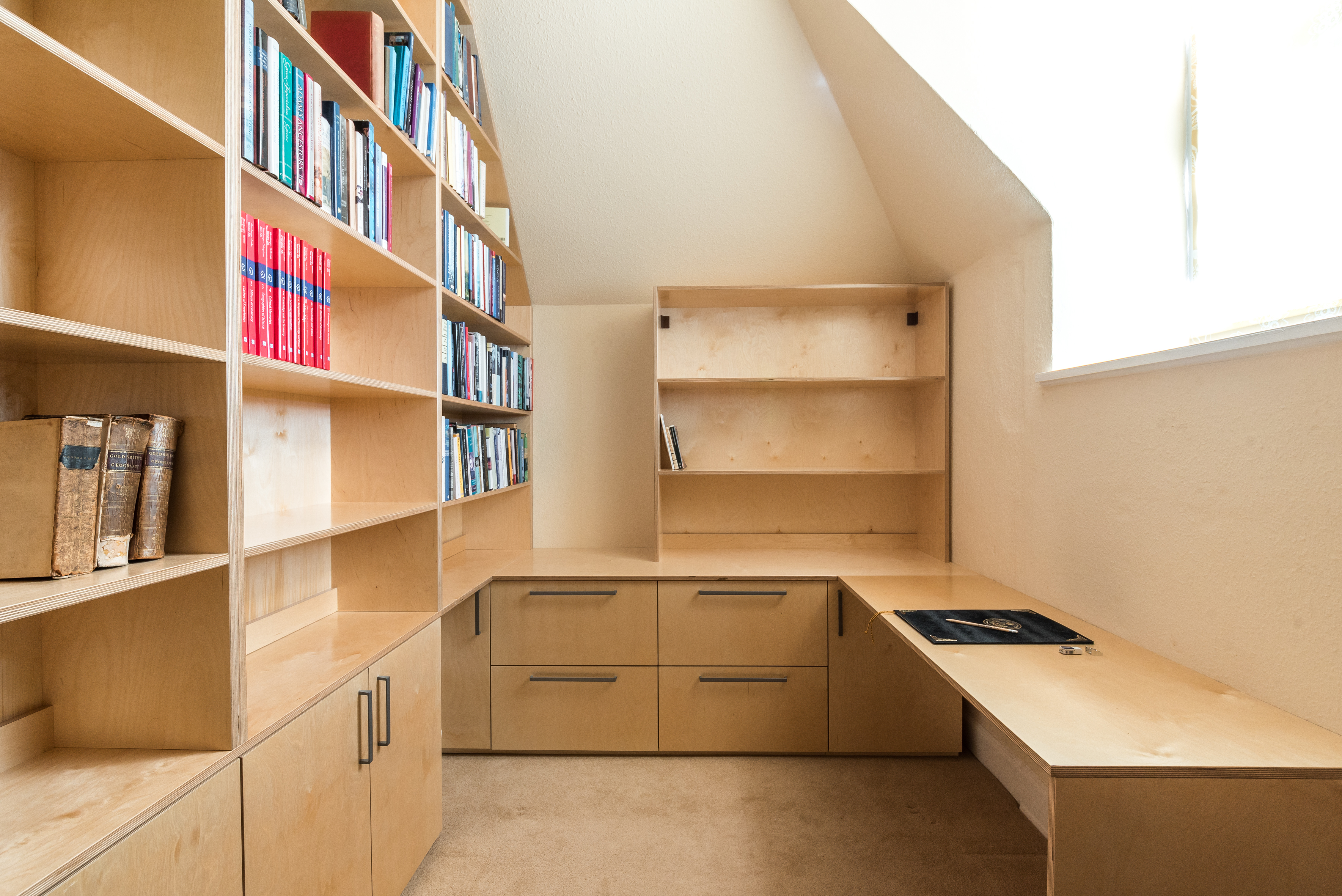 Birch plywood home office