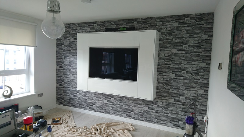 White high gloss wall mounted TV cabinet
