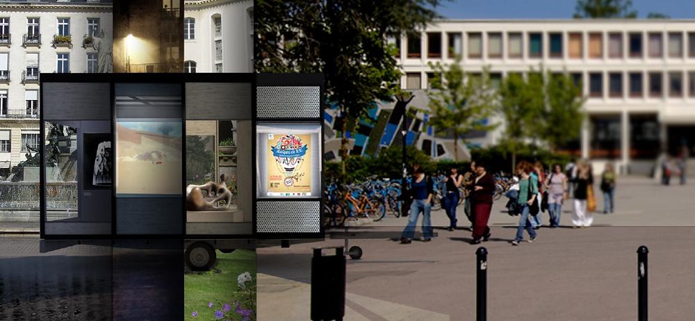 Vue conceptuelle de la gallerie d'art dans différents espaces publics