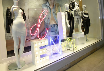 illuminated signage for Bardot, light boxes, fabric light boxes, fabricated letters, LED lettering, Neon, cantilevered light boxes, acrylic light boxes