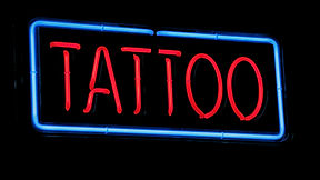 neon signage for tattoo artists home, light boxes, fabric light boxes, fabricated letters, LED lettering, Neon, cantilevered light boxes, acrylic light boxes