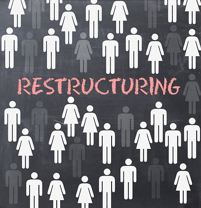 Restructuring process concept on blackbo