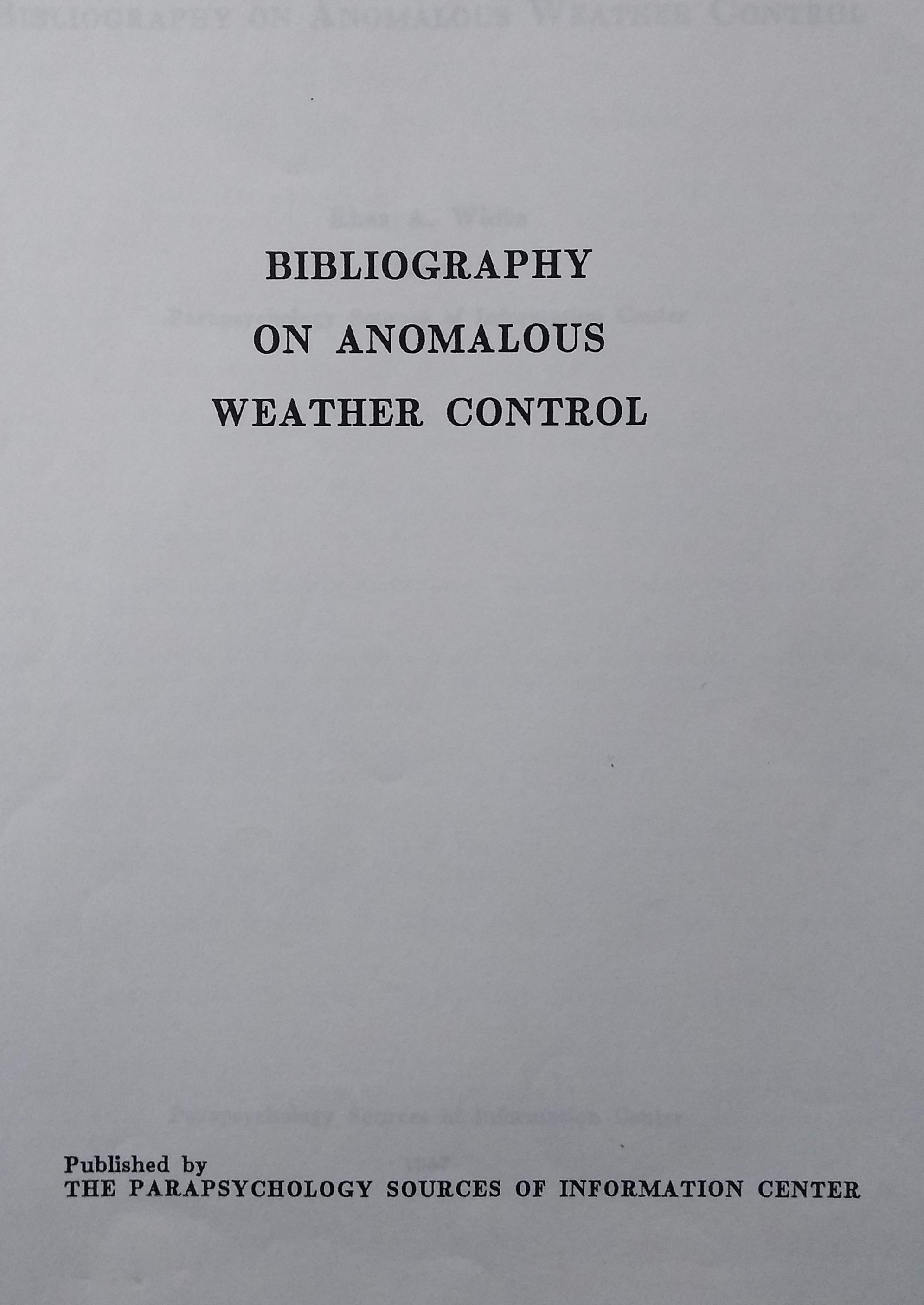Bibliography on anomalous weather...