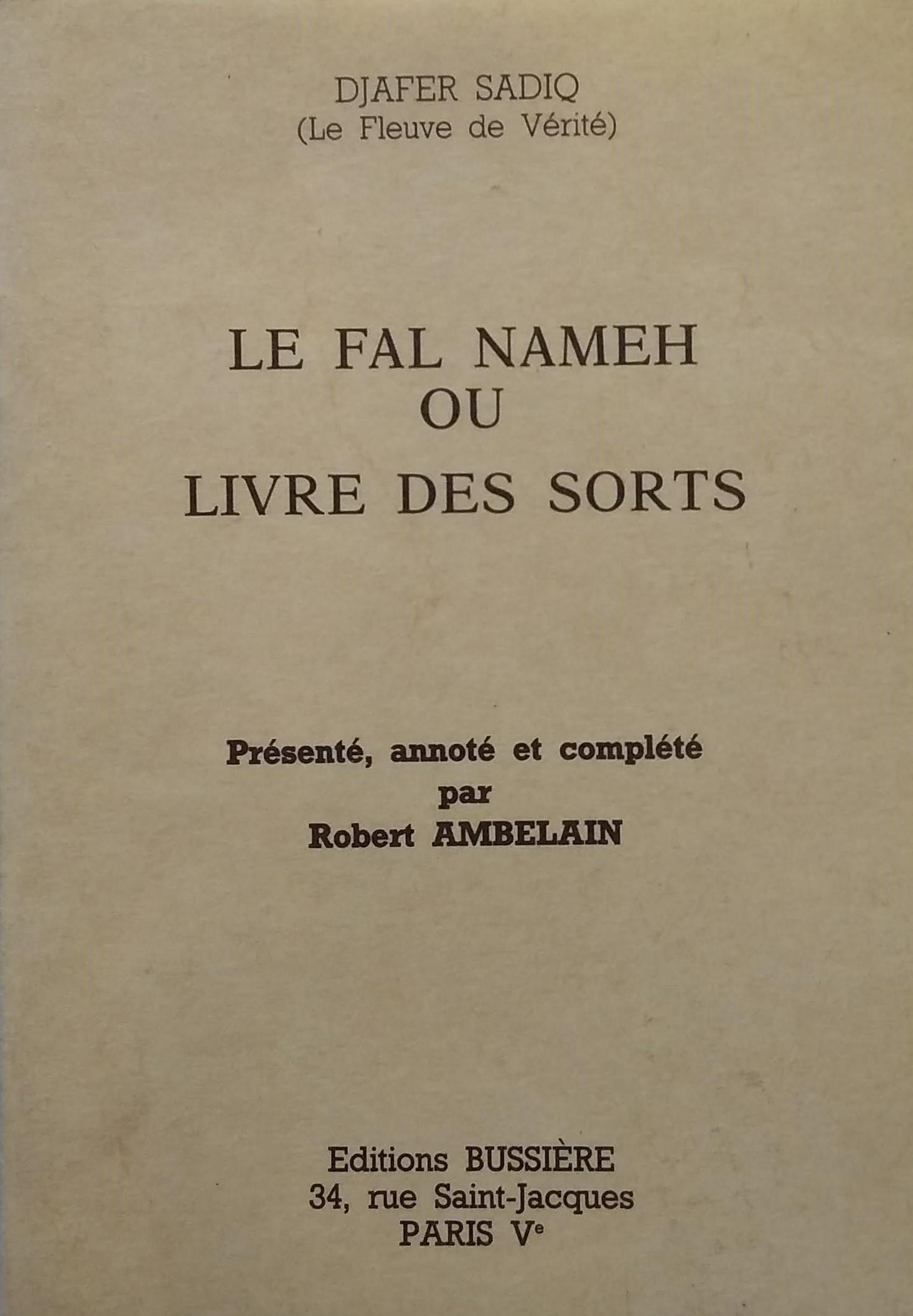 Le Fal Nameh ou Livre des Sorts