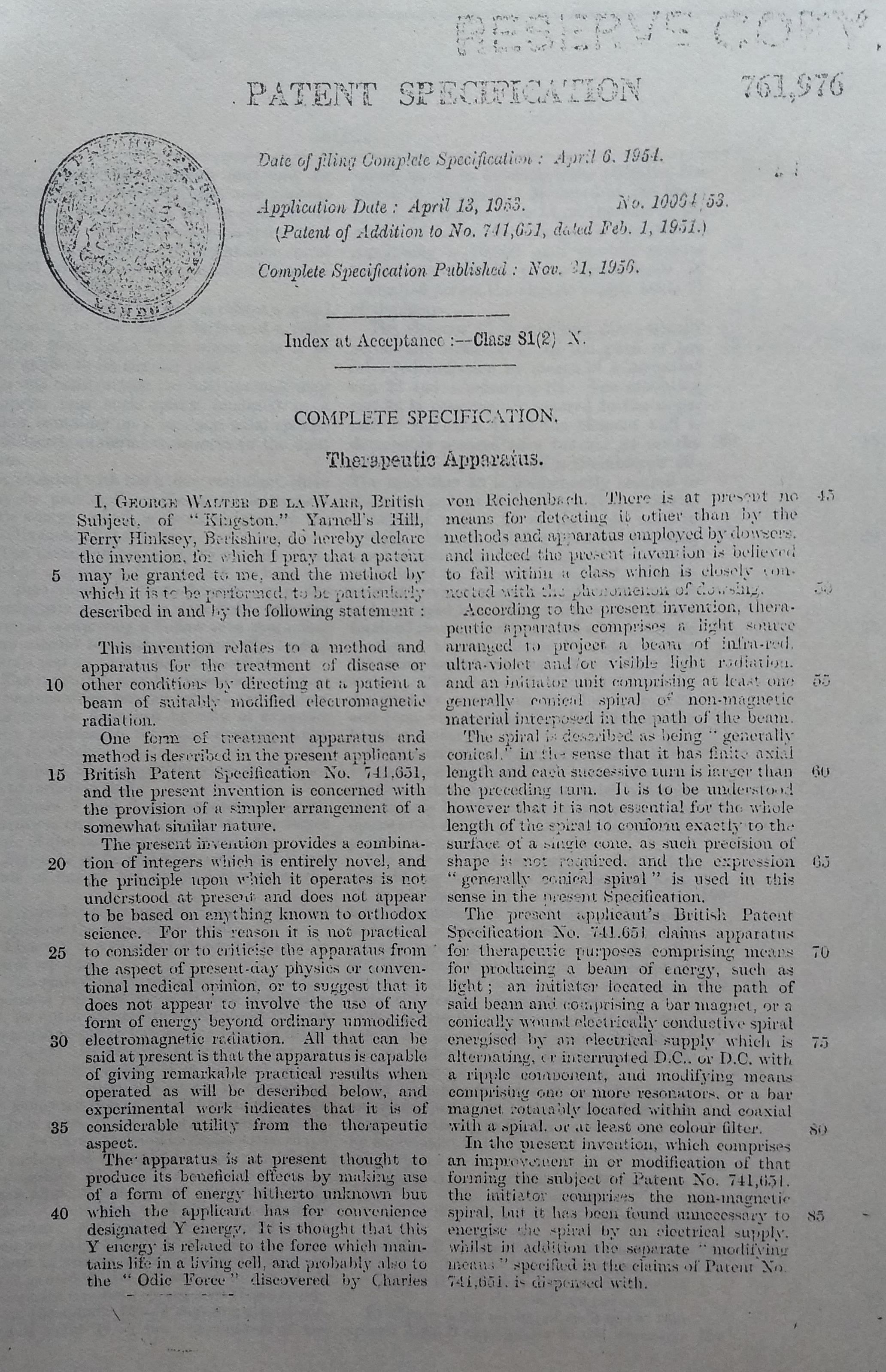 Patent 761976 Therapeutic Apparatus