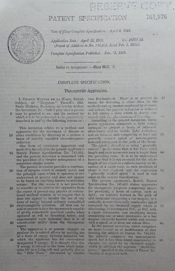 Patent 761976 Therapeutic Apparatus