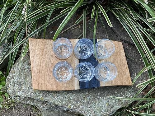 Butternut and epoxy serving shot tray